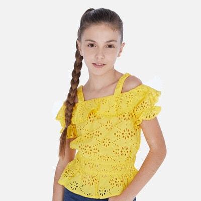 Блуза, у вибитих квітах, Жовтий, Mayoral Іспанія, 20VL