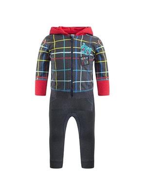 Комплект Спортивний, Кофта в клітину (червоний капюшон) + штани, Темно-сірий, TucTuc Іспанія, 20OZ