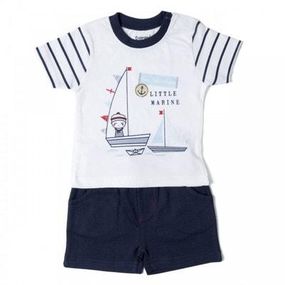Комплект, Футболка біла (Little Marine) +  шорти, Темно-синій, Babybol Іспанія, 19VL