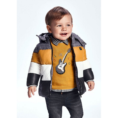 Куртка, з капюшоном, еврозима (бурштинова вставка), Чорний, Mayoral Іспанія, 22OZ