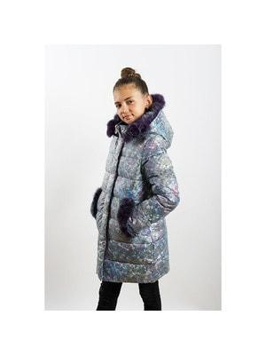 Пальто, з капюшоном (бульбашки, фіолетове хутро), Сірий, ТМ  K`ko, 20OZ