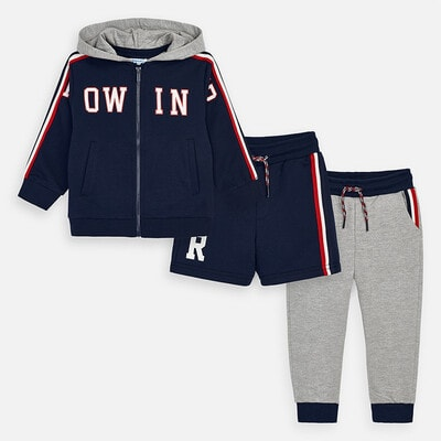 Комплект Спортивний, Кофта + сірі штани + шорти, Темно-синій, Mayoral Іспанія, 20VL