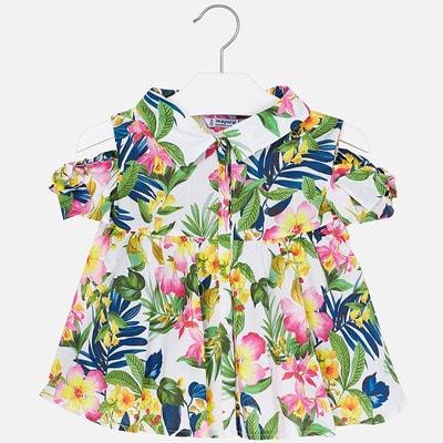 Блуза, В квітах, Білий, Mayoral Іспанія, 19VL