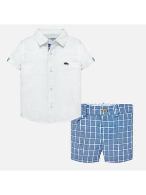 Комплект, Рубашка + шорты голубые в клетку, Белый, Mayoral Испания, 19VL