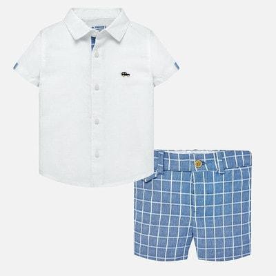 Комплект, Сорочка + шорти блакитні в клітину, Білий, Mayoral Іспанія, 19VL