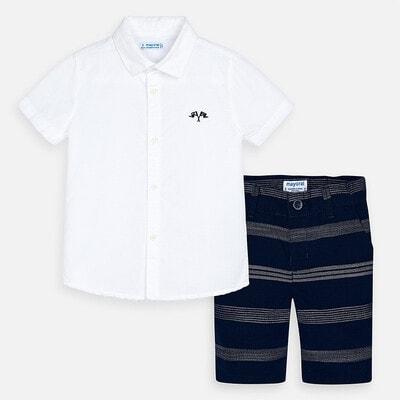 Комплект, Сорочка біла + шорти в смугу, Темно-синій, Mayoral Іспанія, 20VL