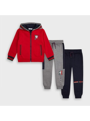 Комплект Спортивный, Кофта + штаны 2 шт. (Серые, синие), Красный, Mayoral Испания, 21OZ