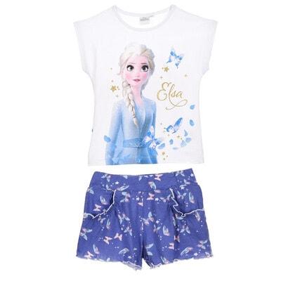 Комплект, Футболка (Elsa)+ шорти бузкові в метеликах, Білий, Disney Іспанія, 20VL