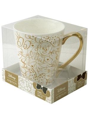 Чашка 320 мл MINNIE (золотий малюнок), Білий, Disney Польща