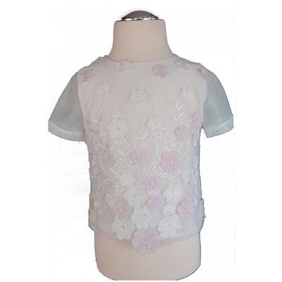 Блуза, вишиті білі та рожеві квіти, Білий, Daga Польща, 19VL