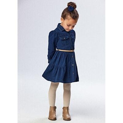 Сукня, довгий рукав + бежевий пояс, Темно-синій, Mayoral Іспанія, 22OZ