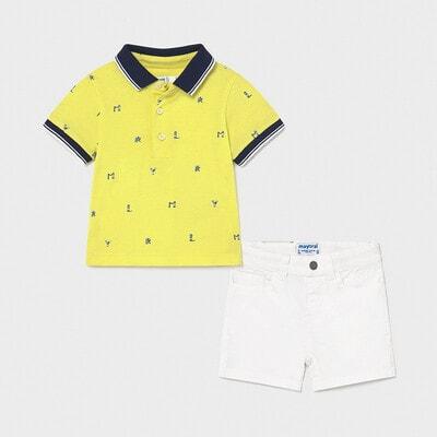 Комплект, Футболка жовта  + шорти, Білий, Mayoral Іспанія, 21VL