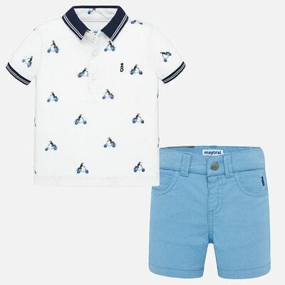 Комплект, Футболка POLO + блакитні шорти, Білий, Mayoral Іспанія, 20VL