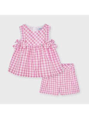Комплект, Блуза + шорти (в білу клітину), Рожевий, Mayoral Іспанія, 21VL