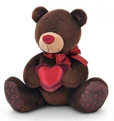 Іграшка М'яка, Ведмедик Choco з червоним серцем та бантиком 25 см (сидячий), ORANGE Китай