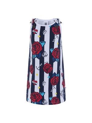 Сукня, в білу смугу (червоні троянди), Темно-синій, TucTuc Іспанія, 19VL