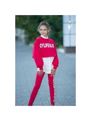 Комплект, Джемпер + блуза кремова + штани (білі написи), Червоний, ТМ Colabear, 20OZ