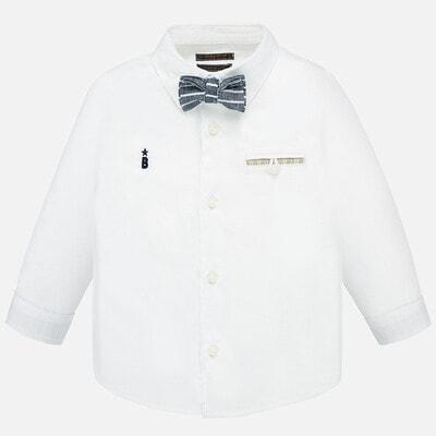 Сорочка, довгий рукав + краватка-метелик, Білий, Mayoral Іспанія, 20VL
