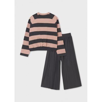 Комплект, Пуловер в рожеву смугу + кюлоти, Темно-сірий, Mayoral Іспанія, 22OZ