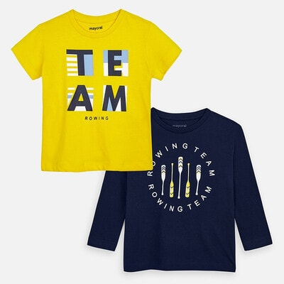 Комплект, Джемпер + жовта футболка, Темно-синій, Mayoral Іспанія, 20VL