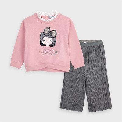 Комплект, Пуловер рожевий + кюлоти, Сріблястий, Mayoral Іспанія, 21OZ