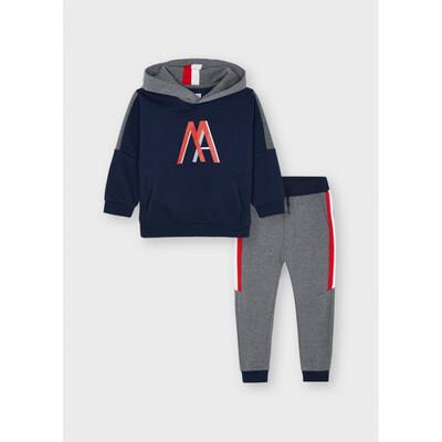 Комплект Спортивний, Пуловер з капюшоном + сірі штани, утеплений, Темно-синій, Mayoral Іспанія, 22OZ