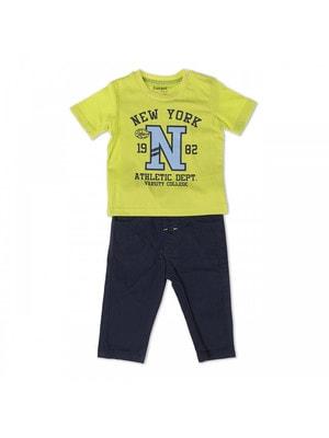 Комплект, Футболка салатова + штани, Темно-синій, Babybol Іспанія, 19VL