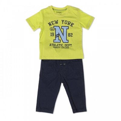 Комплект, Футболка салатовая + брюки, темно-синий, Babybol Испания, 19VL