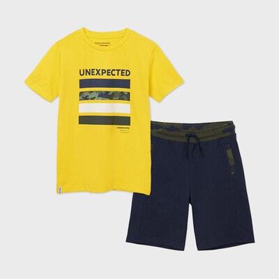 Комплект, Футболка жовта + шорти, Темно-синій, Mayoral Іспанія, 21VL