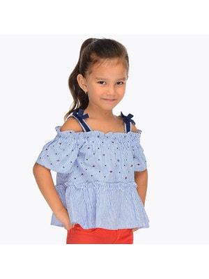 Блуза, в полосочку, Голубой, Mayoral Испания, 19VL