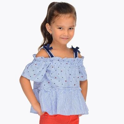 Блуза, в смужечку, Блакитний, Mayoral Іспанія, 19VL
