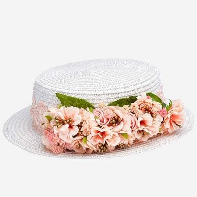 Головний убір Капелюх, (персикові  квіти), Кремовий, Mayoral Іспанія, 20VL