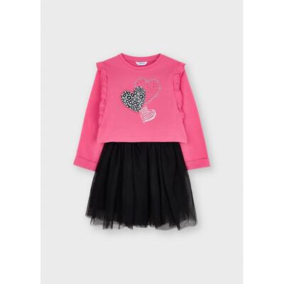 Сукня, низ чорний в блискітках + пуловер, Фуксія, Mayoral Іспанія, 22OZ