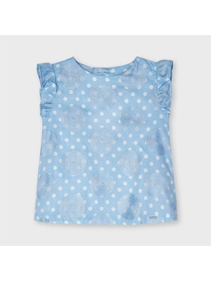 Блуза, в білий горошок, Блакитний, Mayoral Іспанія, 21VL