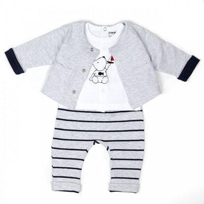 Комплект, Кофта + футболка біла (ведмедик) + штани в смугу, Сірий, Babybol Іспанія, 19VL