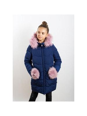 Пальто, з капюшоном (рожеве хутро), Синій, ТМ  K`ko, 20OZ