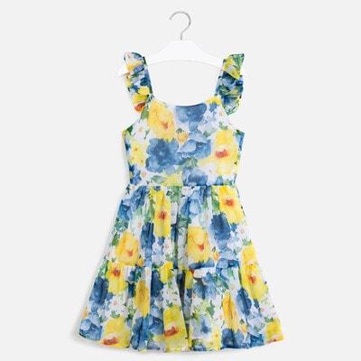 Сукня, в синіх та жовтих квітах, Білий, Mayoral Іспанія, 20VL