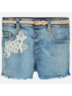 Шорты, джинсовые + пояс, Синий, Mayoral Испания, 19VL