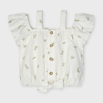 Блуза, в білих квітах, Кремовий, Mayoral Іспанія, 21VL