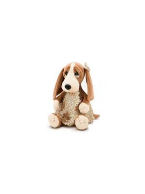 Іграшка М'яка, Собака Бассет-Адель, сукня в золотистих паєтках, 33см, ORANGE Китай