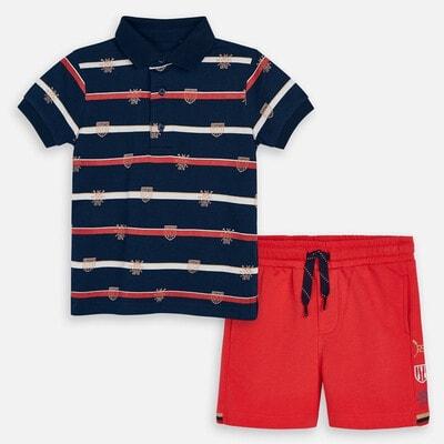 Комплект, Футболка POLO  + червоні шорти, Темно-синій, Mayoral Іспанія, 20VL
