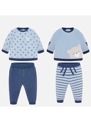 Комплект, 4 од. Джемпер  (1 в зірочках) + штани, Блакитний, Mayoral Іспанія, 20OZ