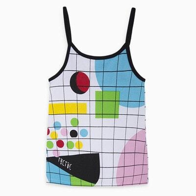 Платье, сарафан в клетку (геометрические фигуры), Белый, TucTuc Испания, 20VL