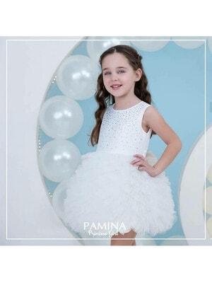 Платье, верх в камнях низ блестящий, Белый, Pamina Турция, 20VL