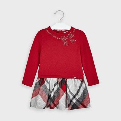 Сукня, довгий рукав, низ в сіру клітину, Червоний, Mayoral Іспанія, 21OZ