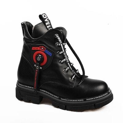 Чобітки, червона лейба (натуральне хутро), Чорний, My Mini Orhopedic Туреччина, 21OZ