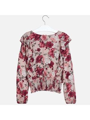 Блуза, довгий рукав (в квітах), Рожевий, Mayoral Іспанія, 20OZ