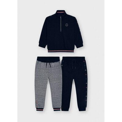 Комплект Спортивний, Пуловер + штани 2 шт., утеплений, Чорний, Mayoral Іспанія, 22OZ