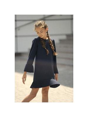 Шкільна форма, Сукня довгий рукав (складочки), Темно-синій, REMIX Польща, 19Ошкола