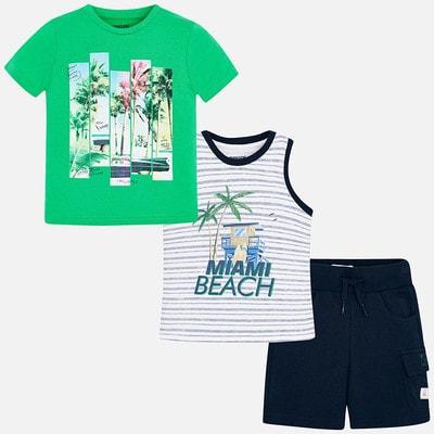 Комплект, Футболка+майка+шорти (Party Time), Зелений, Mayoral Іспанія, 19VL